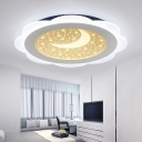 Floral Shape LED Flush Light Acrylic Flush Mount Lighting with Moon and Star for Baby Kids Room