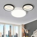 Nordic Style Cartoon Mouse Flush Light Boys Girls Bedroom Black White Metal LED Ceiling Fixture
