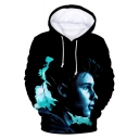Canadian Singer-Songwriter Popular Figure 3D Printing Long Sleeve Loose Drawstring Hoodie