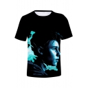 Canadian Singer-Songwriter Popular 3D Figure Printed Basic Round Neck Short Sleeve T-Shirt
