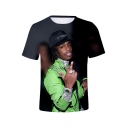 American Rapper Popular 3D Figure Print Round Neck Short Sleeve Loose Fit T-Shirt