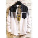 Teenagers Trendy Colorblock Patched Contrast Stitching Casual Oxford Over Shirt