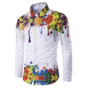Cool Awesome Splash Ink Painted Men's White Long Sleeve Fitted Button-Up Shirt