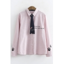 Cute Tie Letter Printed Lapel Collar Long Sleeve Single Breasted Shirt