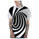 Fashion 3D Black and White Striped Whirlpool Printed Basic Short Sleeve Casual T-Shirt