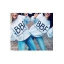 Women's BBF Blonde/Brunette Best Friend Letter Printed Pullover Sweatshirt