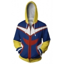 Fashion 3D Colorblock Comic Cosplay Costume Long Sleeve Zip Up Blue Hoodie