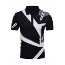New Trendy Geometric Printed Short Sleeve Three-Button Slim Fitted Polo for Men