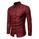 Men New Trendy Plaid Pattern Long Sleeve Button-Up Slim Fit Cotton Shirt