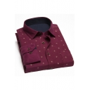 Mens Fashion Allover Logo Printed Long Sleeve Casual Button-Up Brushed Cotton Shirt