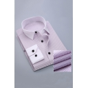 Mens Stylish Vertical Stripe Printed Formal French Cuff Button-Up Dress Shirt