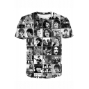 New Trendy Rock Band Popular Figure Printed Short Sleeve Black T-Shirt