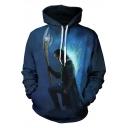 New Trendy 3D Film Figure Printed Long Sleeve Regular-Fit Casual Blue Hoodie