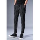 Mens British Style Drawstring Waist Vertical Stripe Print Fitted Black Suit Pants Dress Pants