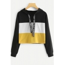 Women's Unique Letter Drawstring Colorblocked Long Sleeve Cropped Black Hoodie