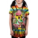 New Arrival Street Fashion Comic Tie Dye Printed Short Sleeve Loose Casual Longline T-Shirt