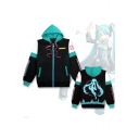 Hatsune Miku Comic Colorblock Cosplay Costume Long Sleeve Zip Up Blue Hoodie