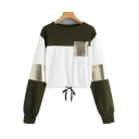 Cool Patched Pocket Colorblock Long Sleeve Round Neck Drawstring Hem Cropped Sweatshirt