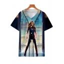 Cool 3D Film Figure Print Short Sleeve Button-Down Baseball Shirt