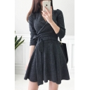 Women's Plain V-Neck Bow-Tied Waist Long Sleeve Mini A-Line Grey Dress