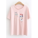 Summer Cute Cartoon Balloon Printed Short Sleeve Basic Casual T-Shirt