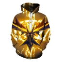 Cool Stylish 3D Comic Animal Printed Long Sleeve Pullover Yellow Hoodie