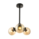 Modern Chandelier Light with Ball Shade 3 Lights Glass Pendant Lighting in Matte Black