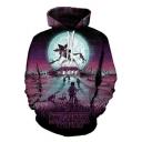 3D Figure Galaxy Pattern Long Sleeve Sport Casual Purple Hoodie