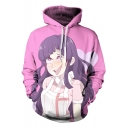 3D Cartoon Comic Girl Printed Sport Relaxed Unisex Pink Drawstring Hoodie