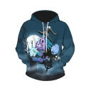 Halloween Witch with A Broom Funny 3D Print Unisex Sport Casual Lake Green Hoodie