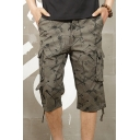 Men's Wear Resistant Fashion Printed Ribbon Hem Casual Loose Cargo Shorts