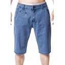 Summer New Trendy Simple Plain Mens Straight-Leg Casual Denim Shorts