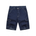 Mens New Fashion Simple Plain Contrast Piping Flap Pocket Side Blue Denim Shorts