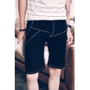 Guys Summer Simple Plain Fashion Contrast Piping Straight Black Denim Shorts
