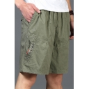 Guys Summer Simple Plain Straight Loose Fit Cotton Relaxed Shorts