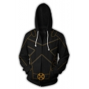 Marvel X-Men Cool 3D Printing Long Sleeve Black Zipper Hoodie