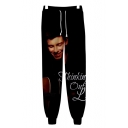 3D Figure Printed Athletic Casual Sport Black Sweatpants