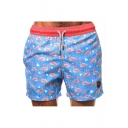 Men's Hot Popular Flamingo Printed Drawstring Waist Beach Blue Swim Shorts