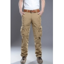 Men's New Fashion Solid Color Multi-Pocket Casual Loose Straight Leg Outdoor Cool Cargo Pants
