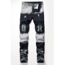 New Stylish Retro Bleach Washed Zipper Cuff Stretch Regular Fit Blue and White Ripped Jeans