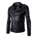 Fashion Black Slim-Fit Long Sleeve Zipper pockets Men's leather Moto Jacket