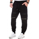 Men's Hip Hop Style Patchwork Knee Zip Embellished Drawstring Waist Sport Cotton Pants Sweatpants