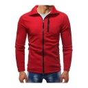 New Stylish Slim-Fit Long Sleeve Stand Collar Zip Placket Sweatshirt Jacket for Men