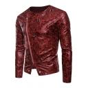 Fashion Long Sleeve Collarless Oblique Zipper Metal Ring Embellished Cropped Men's Leather Jacket