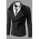 Mens Casual Lapel Collar Button Embellished Slim-Fit Oblique Zipper Jacket