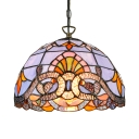 Tiffany Victorian Semicircle Drop Light Stained Glass 1 Bulb Suspension Light in Multi Color