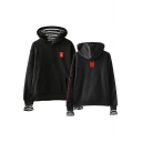 Boy Band LOVE YOURSELF Logo Stripe Patched Long Sleeve Relaxed Fit Hoodie