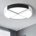 Sector Shape Surface Mount LED Light Minimalist Metallic Ceiling Fixture in Black White for Hallway
