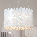 Contemporary Drum Chandelier with Flower Design Kids Room Acrylic Triple Light Hanging Light in White