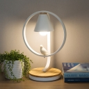White Conical Table Lamp Metallic Single Head Standing Table Light with Bird Decoration for Baby Kids Room
